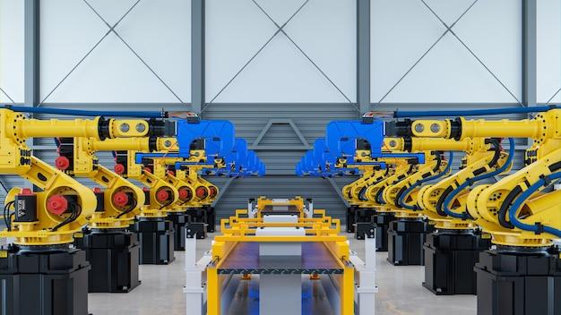 공장에서 자동차 조립을 위한 용접 로봇 3d 렌더링
