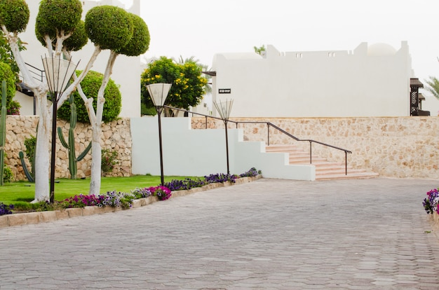 Well-groomed park territory of five star hotel in sharm el sheikh.