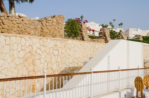 Well-groomed park territory of five star hotel. summer in sharm el sheikh.