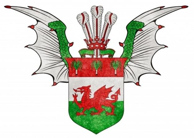 Welsh custom grunge emblem
