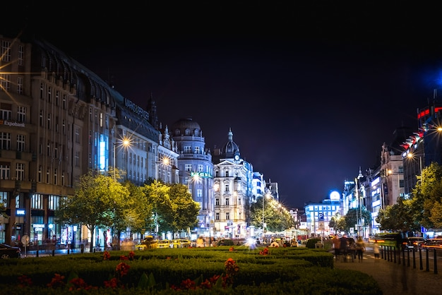 Wenceslas square at night. prague, czech republic.