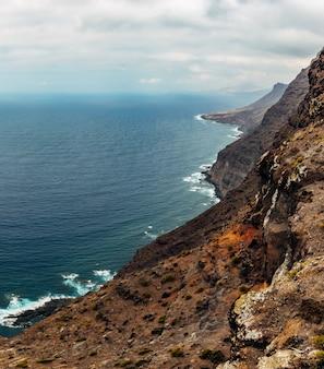 The west coast of gran canaria, waves breaking over cliffs at mirador del balcón