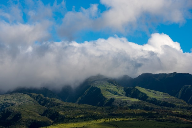 West maui mountains covered in clouds.
