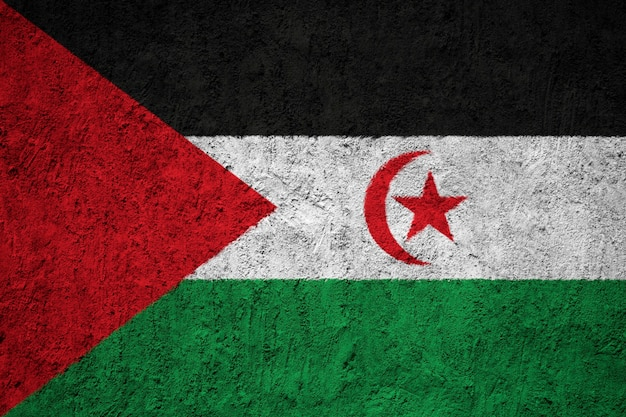 Western sahara flag painted on grunge wall