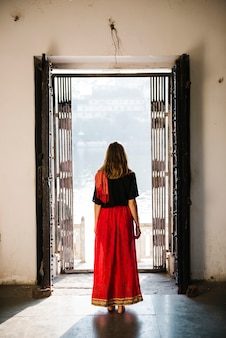 Western woman exploring a hindu temple, maji ka mandir