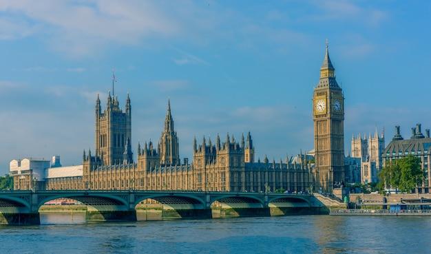 Вестминстерское аббатство, биг бен и городской пейзаж лондона, великобритания
