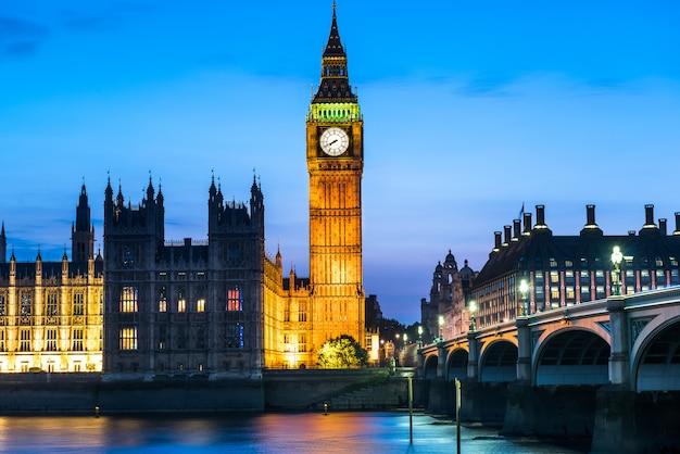 Вестминстерское аббатство и биг бен ночью, лондон, великобритания