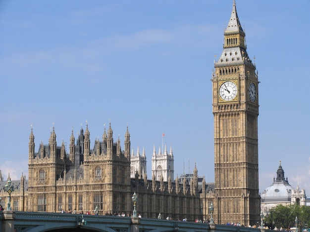 Westminster palace with the tower bell called big ben, in a sunny day.