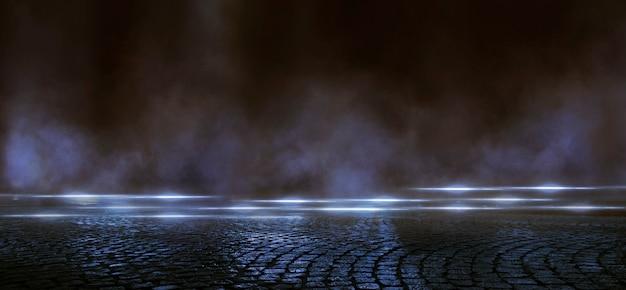 Wet asphalt, reflection of neon lights, a searchlight, smoke