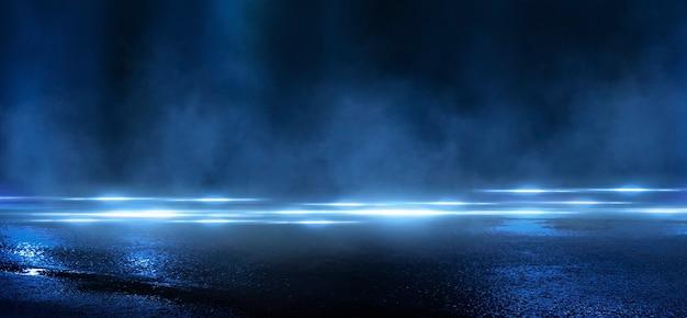 젖은 아스팔트, 네온 불빛의 반사, 탐조등, 연기