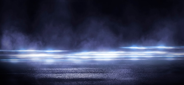 濡れたアスファルト、ネオンライトの反射、サーチライト、煙。