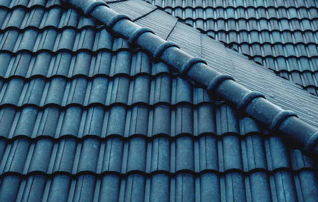 Wet blue tiles roof