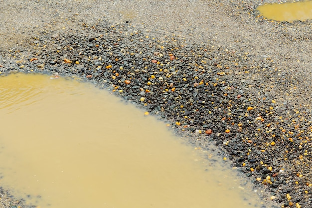 , wet brown soil in a dirty country road after the rain