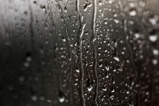 Wet misted glass with drops of water