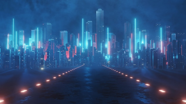 Wet surface road leading to mega city at night