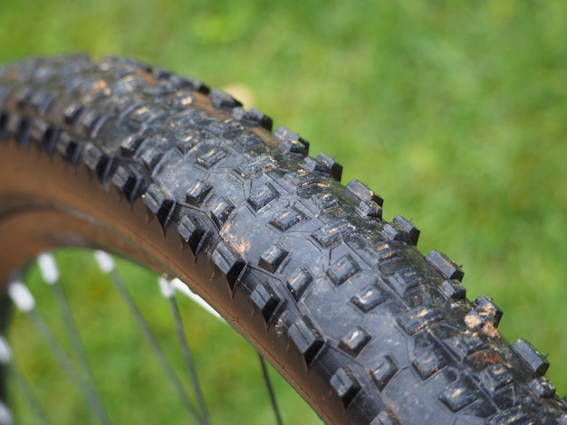 Wet tire of a mountain bike in the rain