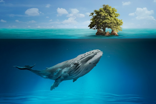 Whale swimming in the ocean for save the planet campaign media remix