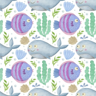 고래 수채화 원활한 패턴 흰색 바탕에 바다 친구 배경