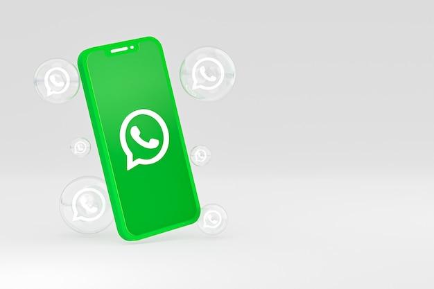 Значок whatapps на экране смартфона или мобильного телефона 3d визуализации на сером фоне