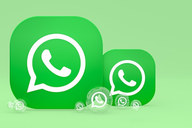 Значок whatapps на экране смартфона или мобильного телефона 3d визуализации на зеленом фоне
