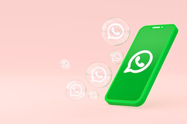 Значок whatapps на экране смартфона или мобильного телефона 3d визуализации на розовом фоне