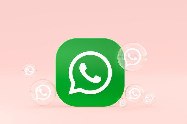 Значок whatapps на экране смартфона или мобильного телефона 3d визуализации на розовом фоне Premium Фотографии