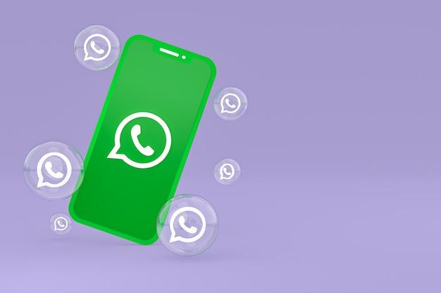 Значок whatapps на экране смартфона или мобильного телефона 3d визуализации на фиолетовом фоне