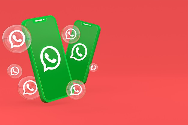 Значок whatapps на экране смартфона или мобильного телефона 3d визуализации на красном фоне