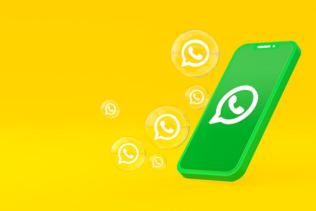 Значок whatapps на экране смартфона или мобильного телефона 3d визуализации на желтом фоне