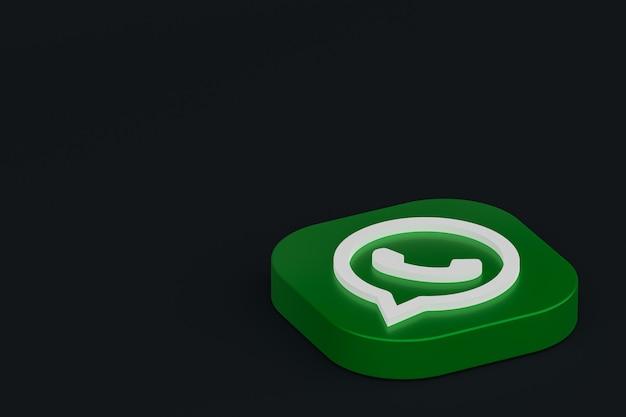 Whatsapp application green logo icon 3d render on black background