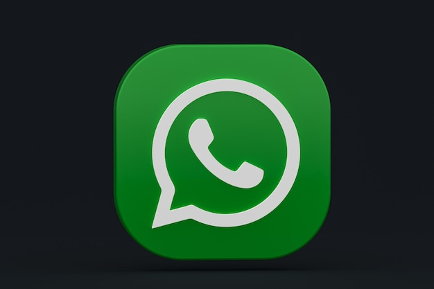 Значок зеленого логотипа приложения whatsapp 3d визуализации на черном фоне