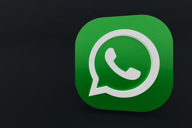 Значок зеленого логотипа приложения whatsapp 3d визуализации на черном фоне Premium Фотографии