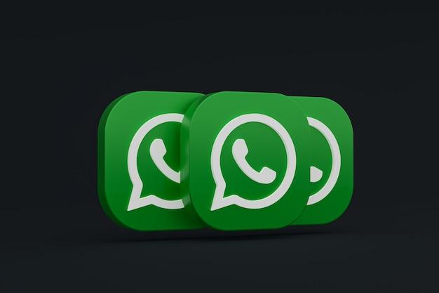 Значок зеленого логотипа приложения whatsapp 3d визуализации на черном