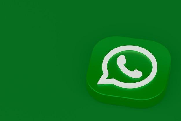 Значок зеленого логотипа приложения whatsapp 3d визуализации на зеленом фоне
