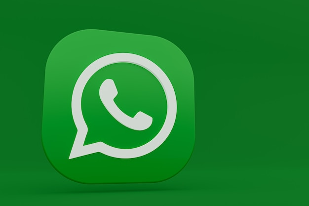 Значок зеленого логотипа приложения whatsapp 3d визуализации на зеленом