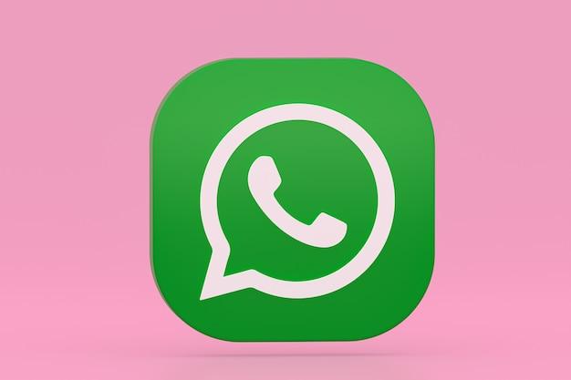 Значок зеленого логотипа приложения whatsapp 3d визуализации на розовом фоне