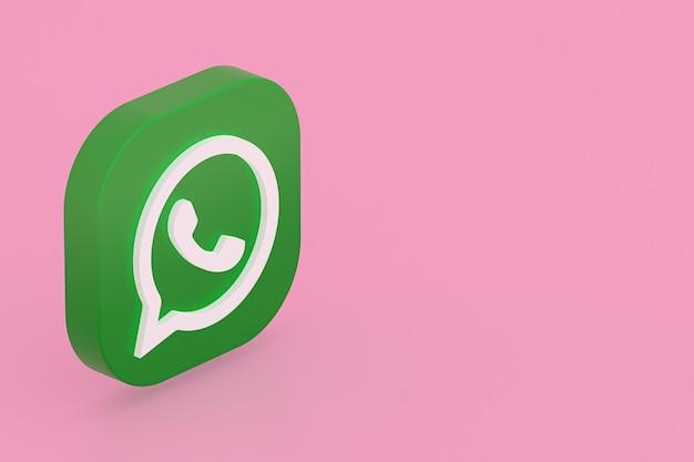 Значок зеленого логотипа приложения whatsapp 3d визуализации на розовом