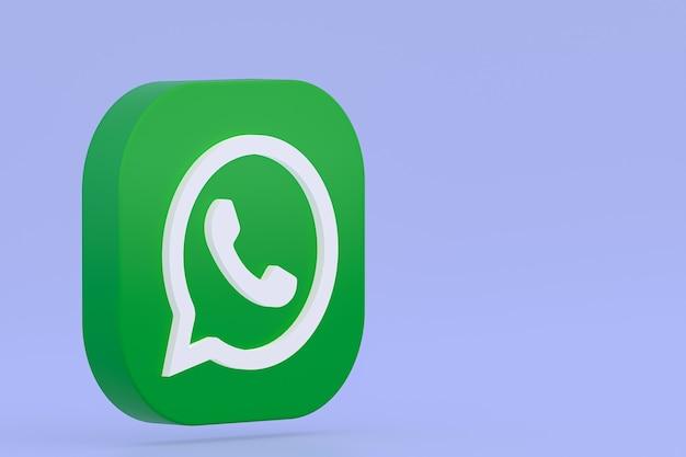 Значок зеленого логотипа приложения whatsapp 3d визуализации на фиолетовом фоне