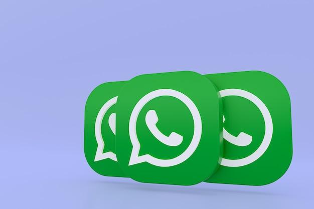 Значок зеленого логотипа приложения whatsapp 3d визуализации на фиолетовом