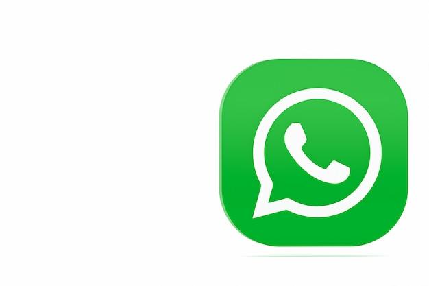 Значок зеленого логотипа приложения whatsapp 3d визуализации на белом фоне