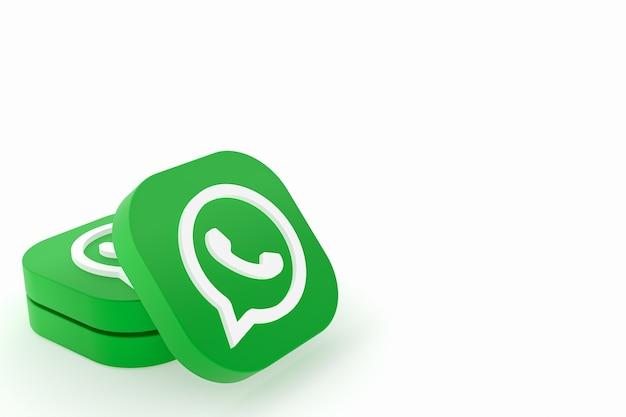 Значок зеленого логотипа приложения whatsapp 3d визуализации на белом