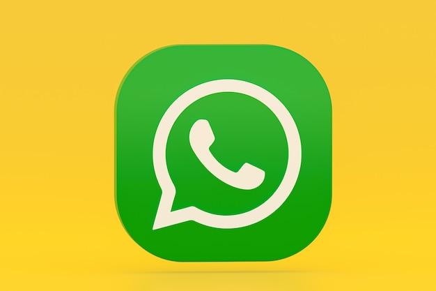 Значок зеленого логотипа приложения whatsapp 3d визуализации на желтом фоне