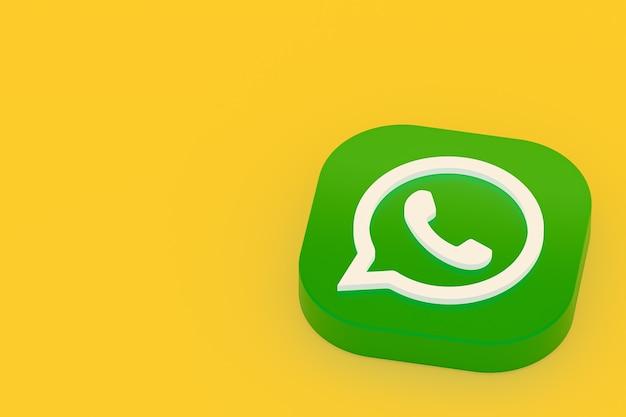 Значок зеленого логотипа приложения whatsapp 3d визуализации на желтом