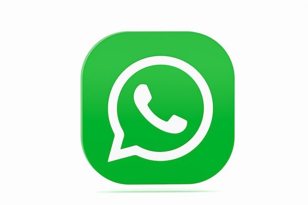 Whatsapp application green logo icon 3d render on white background