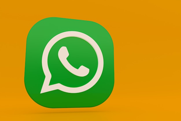 Whatsapp application green logo icon 3d render on yellow background