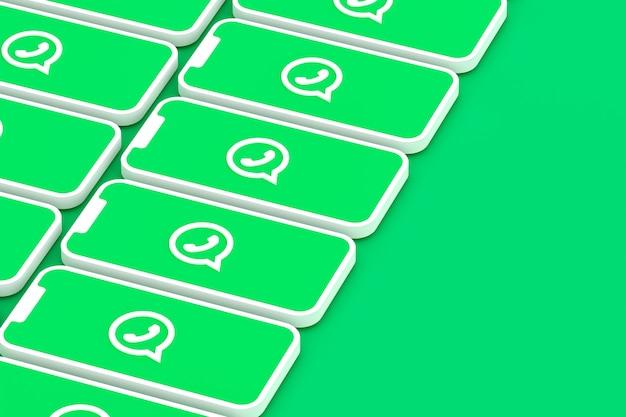 画面のスマートフォンまたはモバイル3dレンダリングのwhatsappの背景