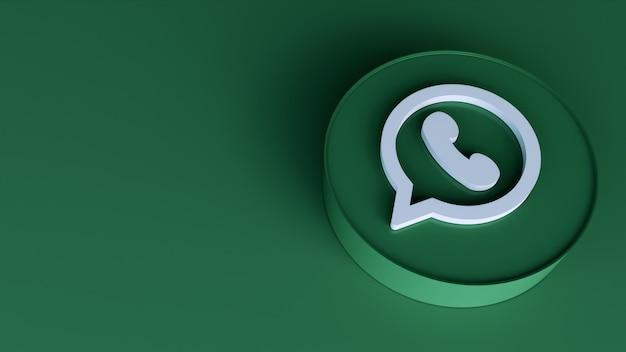 Значок 3d кнопки круга whatsapp с копией пространства. 3d рендеринг