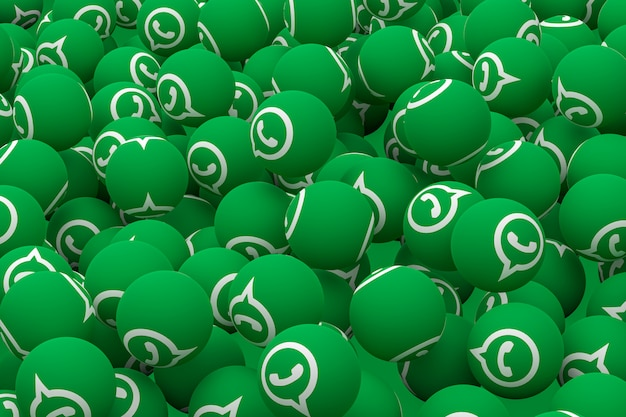 Whatsapp emoji on green background,social media balloon symbol with whatsapp icons pattern