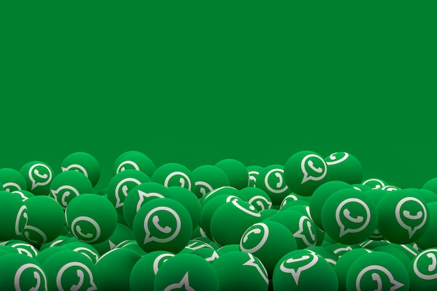 Whatsapp emoji на зеленом фоне, символ социальных медиа шар с рисунком значков whatsapp