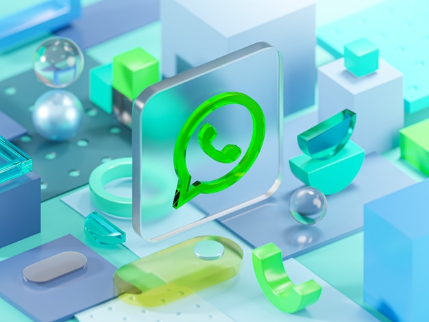 Whatsapp glass geometry shapes abstract composition art 3d rendering